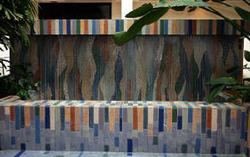 Mosaic fountain at the Public Service Comapny of New Mexico by ABQ Art Glass