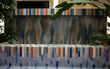 Mosaic tile fountain located at the Public Service Co. of New Mexico by ABQ Art Glass