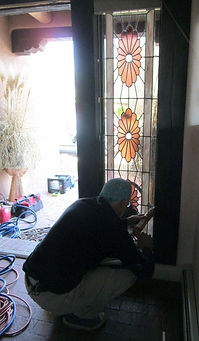 Stained glass door sidelight repair by ABQ Art Glass
