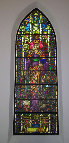 Church of the Holy Faith stained glass retoration of St. Hilda.
