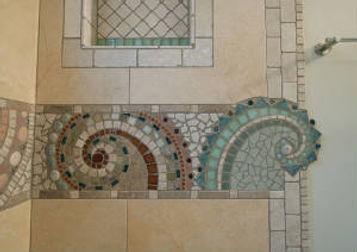 Stone mosaic bathroom by ABQ Art Glass