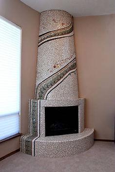Stone mosaic kiva fireplace.