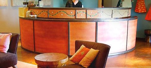 Mosaic front desk by ABQ Art Glass