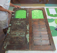Stained glass shutter door repair by ABQ Art Glass