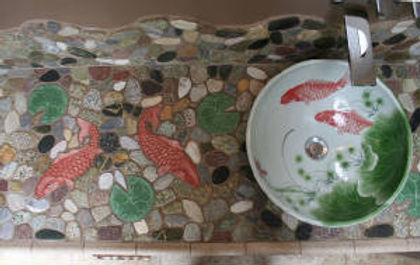 Koi fish mosaic countertop by ABQ Art Glass