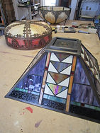Contemporary stained glass lamp repair