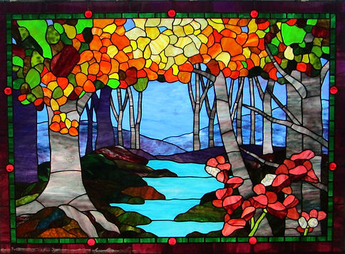 Aspen Trees and River stained glass by ABQ Art Glass