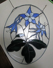 Blue Columbine stained glass repair