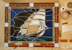 Sailboat stained glass repair