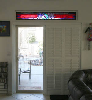 Red contemporary stained glass side light by ABQ Art Glass
