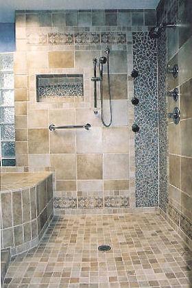 Mosaic tile shower By ABQ Art Glass