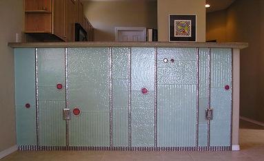 Custom glass slab tiles kitchen bar by ABQ ARt Glass
