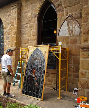 Church of the Holy Faith stained glass retoration by ABQ Art Glass