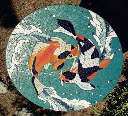 Koi mosaic tabletop by ABQ Art Glass