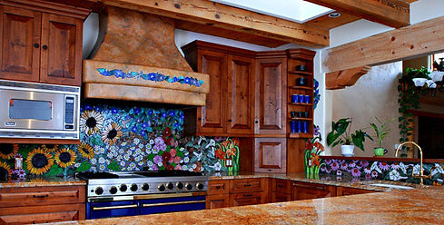 Glass mosaic kitchen backsplash, Flower Fiesta by ABQ Art Glass
