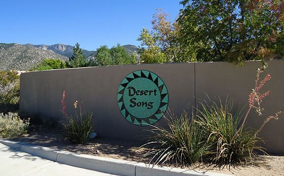Mosaic sign for Desert Song mosaic signage by ABQ Art Glass