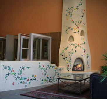Four Season's Showroom kiva fireplace mosaic by ABQ Art Glass