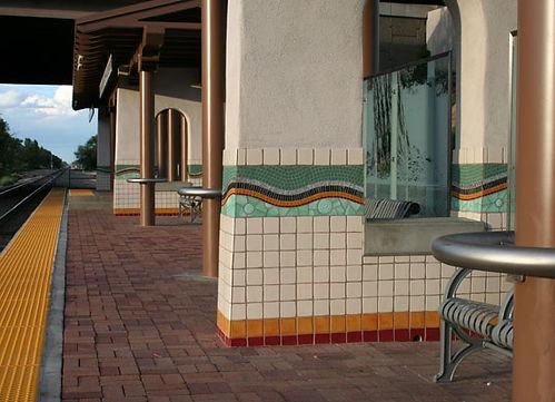 Mosaic located at the Los Ranchos de Albuquerque Rail Runner train station by ABQ Art Glass