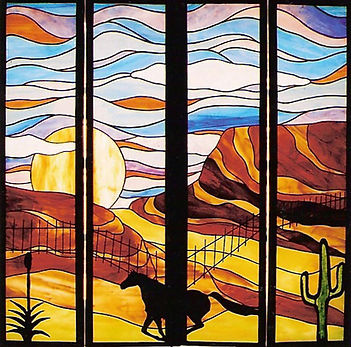 Western stained glass shutters by ABQ Art Glass