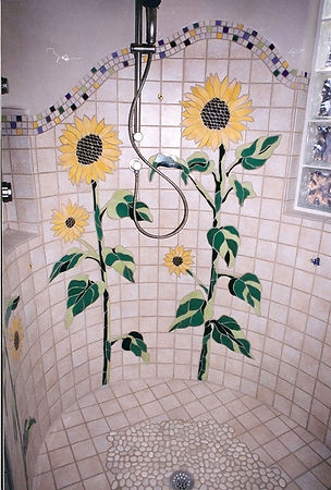 Sunflower mosaic tile bathroom by ABQ Art Glass