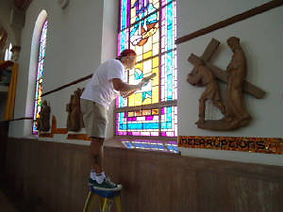 St. Therese Shrine of the Little Flower stained glass repair by ABQ Art Glass