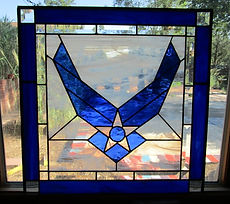 Air Force logo stained glass repair