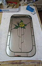 Mirror with Yellow Rose stained glass repair