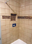 Earth tone tile with cobalt accents by ABQ Art Glass