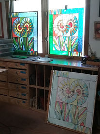 Two Flowers stained glass repair