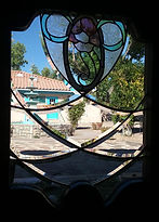 Stained glass front door panel repair by ABQ Art Glass