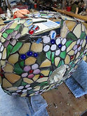 Floral stained glass lamp repair