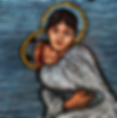 """Mary""glass painting by ABQ Art Glass"