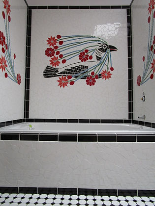 Inuit Loon mosaic shower surround by ABQ Art Glass
