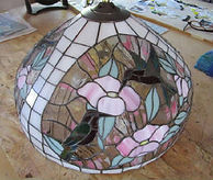 Pink hummingbird stained glass lamp repair