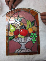 Bowl of Fruit stained glass repair