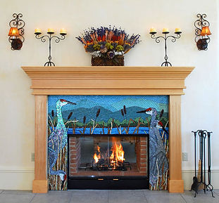 Sandhill crane mosaic tile fireplace by ABQ Art Glass