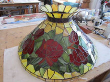 Red roses stained glass lamp repair