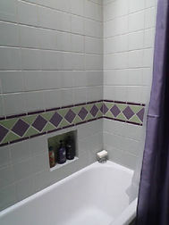 Retro bathroom tile by ABQ Art Glass