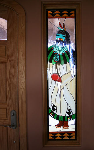 Rain Kachina stained glass by ABQ Art Glass