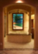 Palm tree, beach mosaic bathroom light box.