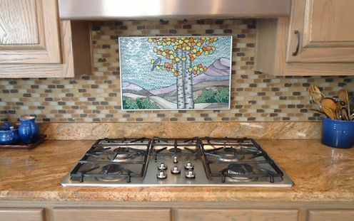 Aspen Trees mosaic tile kitchen backsplash by ABQ Art Glass
