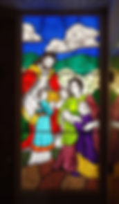 Glass painting of religious portraits