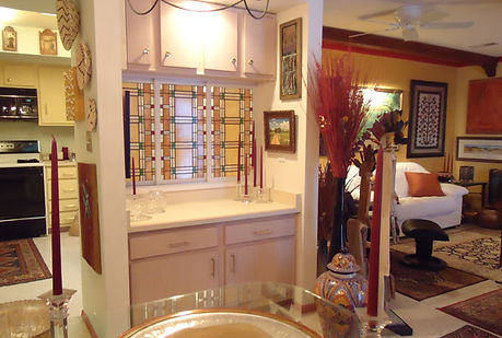 Frank Lloyd Wright stained glass shutters by ABQ Art Glass