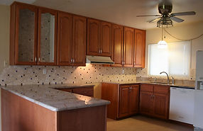 Kitchen tile backsplash with accent corners by ABQ Art Glass