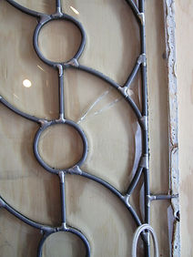 Arched beveled door repair by ABQ Art Glass