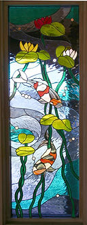 Koi Fish stained glass side light by ABQ Art Glass