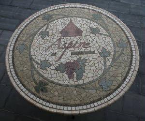 Aspire logo mosaic tabletop by ABQ Art Glass