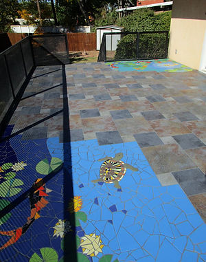 Koi Pond backyard patio by ABQ Art Glass