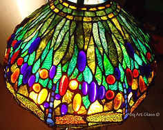 Yellow dragonfly Tiffany stained glass lamp repair