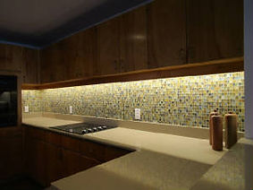 Glass mosaic tile kitchen backsplash by ABQ Art Glass